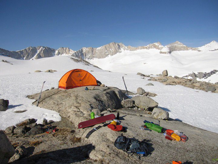 Camping between The Palisade Crest and Mather Pass, Sierra Nevada.