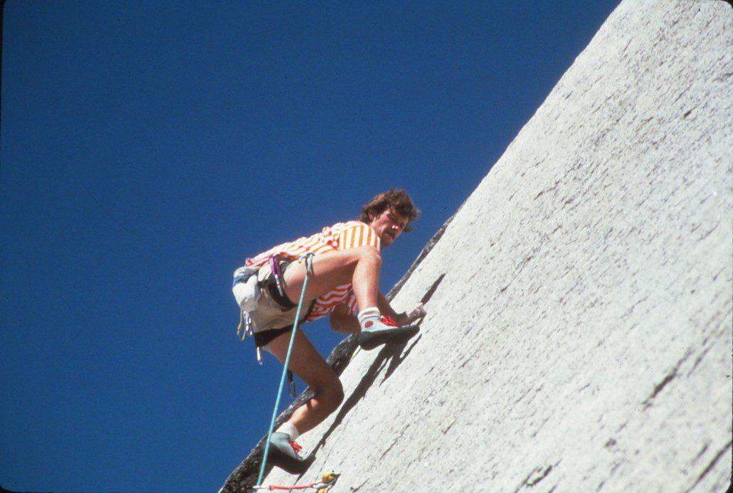 Climbing the glacier polished granite of Tuolumne Meadows (Carl Cadenasso climbing)