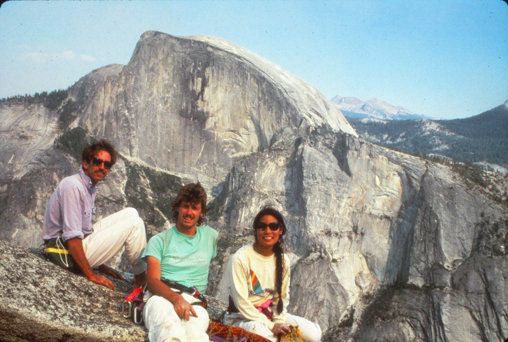 On top of the classic rock climb, Crest Jewel, North Dome, Yosemite