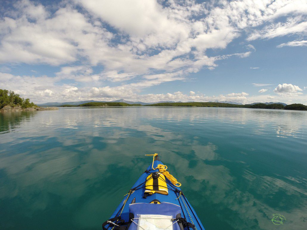 The ideal. When the lakes turn to glass and the kayaks glide effortlessly on the Savonoski Loop..