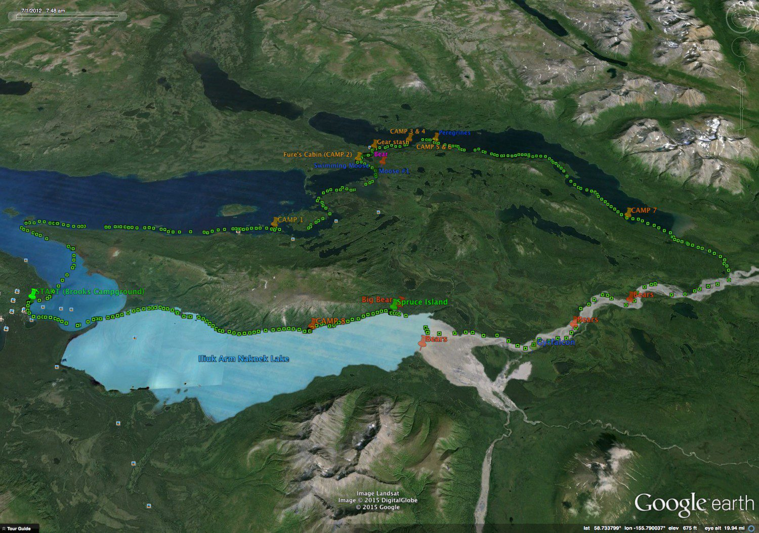 Our route shown in green and clockwise from Brooks Camp. Savonoski Loop, Katmai National Park.