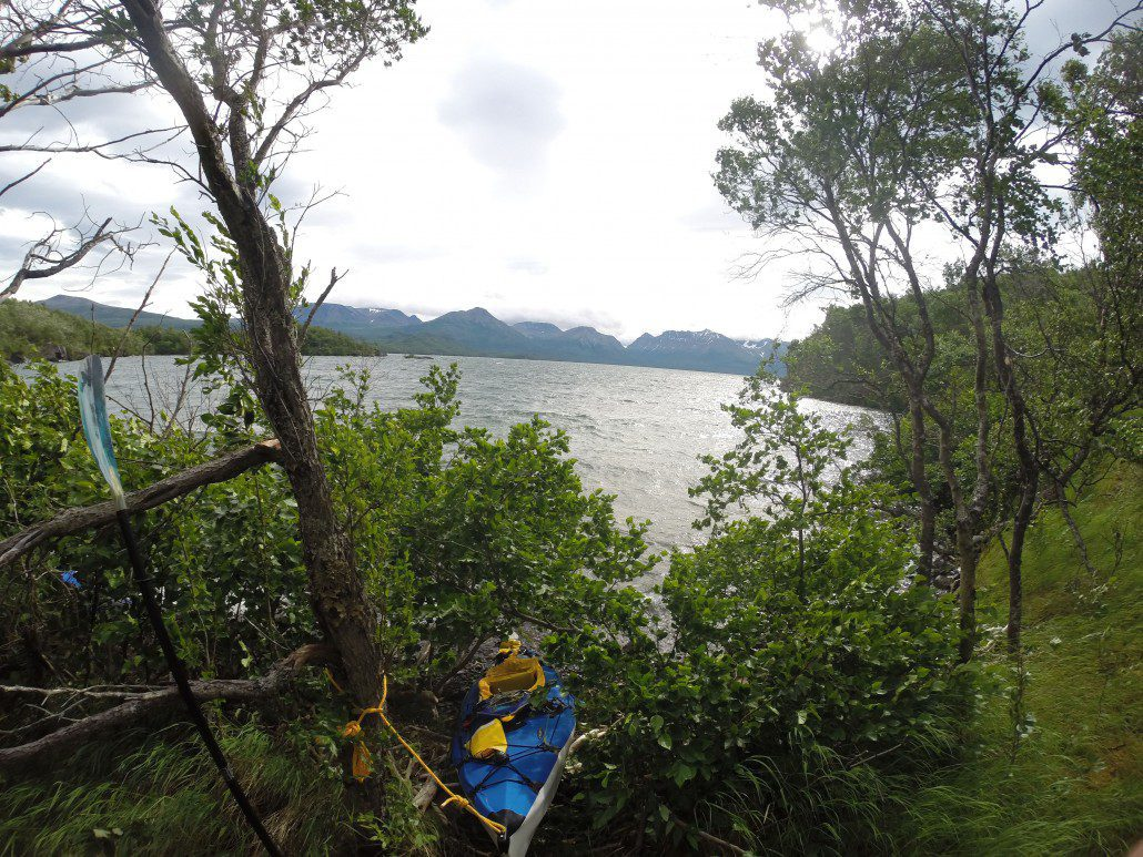 Sudden high winds forced us to shore where we camped for two nights on a bear trail. Savonoski Loop kayak trip.