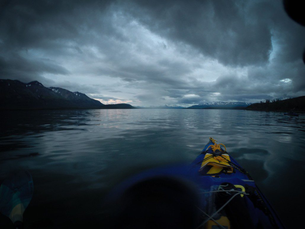 Paddling at 1:00AM on Lake Grosvenor, Savonoski Loop, Katmai National Park.