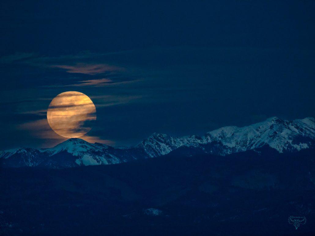 Moonrise over Trampas Peak in New Mexico.