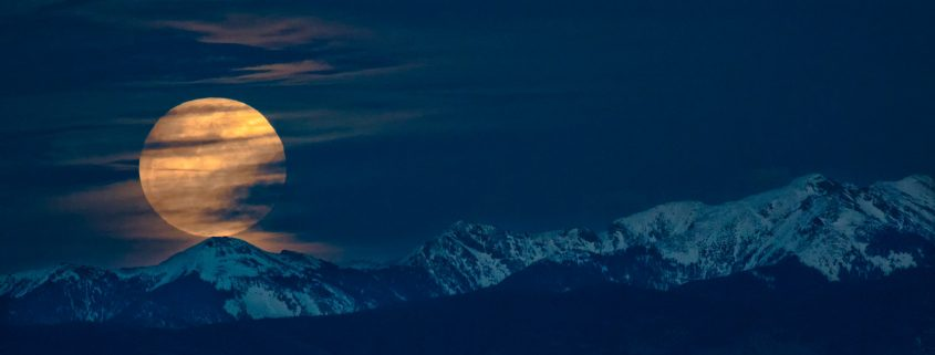 Moonrise over Trampas Peak in New Mexico.