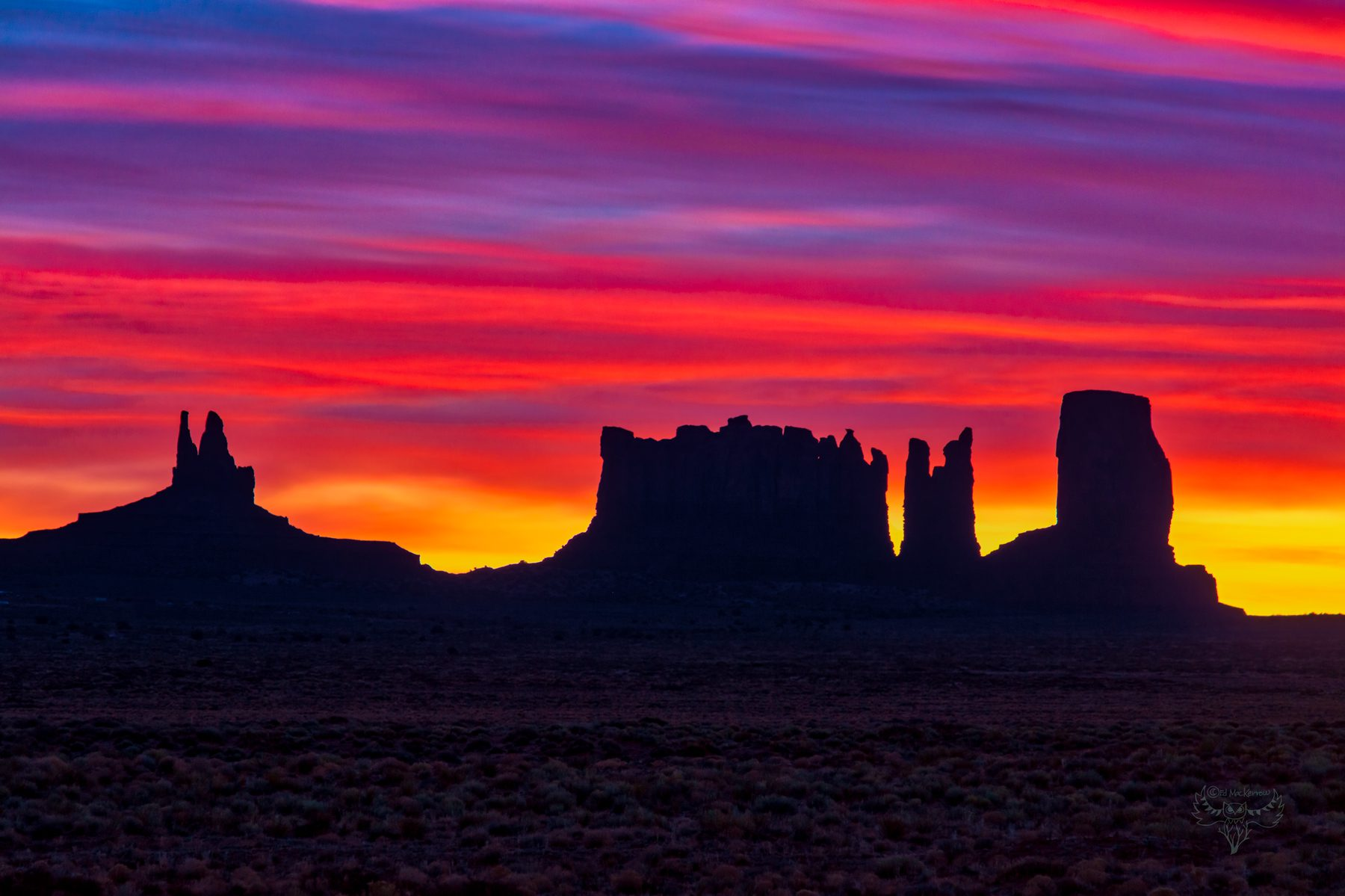 Colorful sunrise over Monument Valley